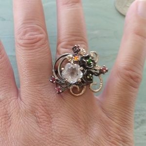 Jewelry - Natural rose quartz gold plated stamped 925 ring